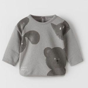 NWT 1-3 months Zara animal plush shirt